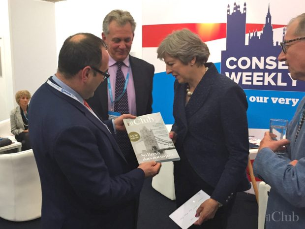 "Tratos CEO, Maurizio Bragagni introducing ""Il Club"" to UK's Prime Minister, Theresa May"