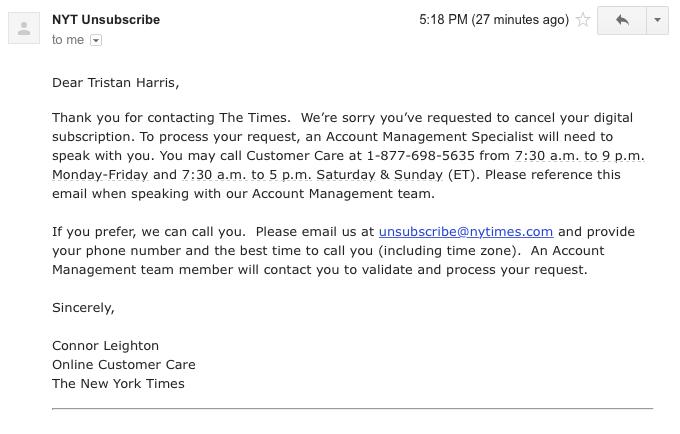 NYTimes afirma que está dando uma escolha livre para cancelar sua conta