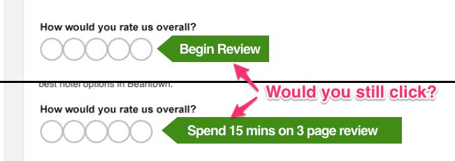"""O TripAdvisor usa uma técnica de """"pé na porta"""" pedindo uma única revisão de clique (""""Quantas estrelas?"""") Enquanto oculta a pesquisa de três páginas de perguntas por trás do clique."""